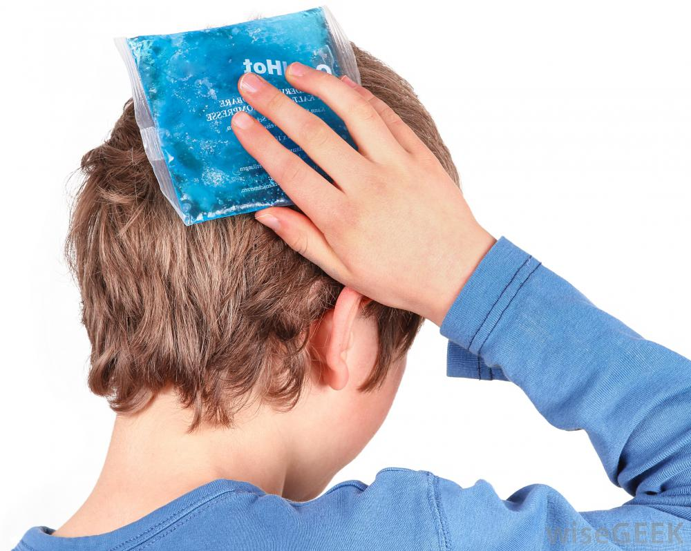 Boy With Ice Pack On Back Of Head
